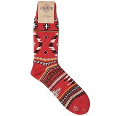 The CHUP sock range is made by Japanese textile experts Glen Clyde. Expertly crafted using the finest materials, this hugely popular collection features bright patterns inspired by native cultures from across the globe. The Suerte sock features a unique jacquard pattern an intricate multi-coloured knit.  Cotton Blend Knit Construction Jacquard Knit Pattern Detail Made in Japan