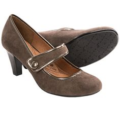 Sofft Obella Mary Jane Shoes - Suede, Stacked Heel (For Women) in Nimbus Grey Suede