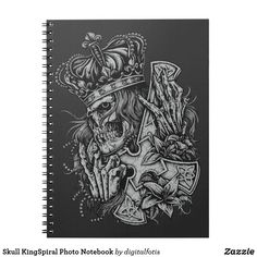 Skull KingSpiral Photo Notebook Custom Notebooks, Lined Page, Keep It Cleaner, Personal Style, Vibrant, Skull, Black And White, Prints, Accessories