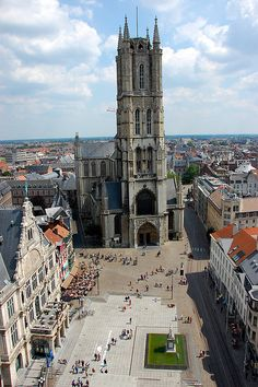 GHENT, BELGIUM - St. Bavo's Cathedral is home to the Van Eyck's famous Adoration of the Mystic Lamb (1432).