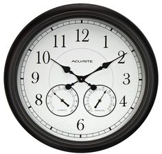 AcuRite 24-inch Weathered Wall Clock with Thermometer and Hygrometer 24 Inch Wall Clock, Best Wall Clocks, Wall Clock Online, Outdoor Wall Clocks, Black Clocks, Home Porch, Diy Wall, Things To Sell, Glass