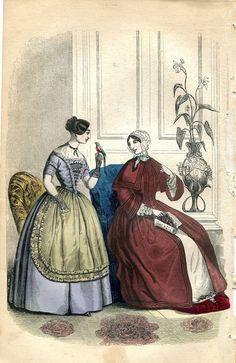 I like the horizontal lace on the violet figure.   1850 wrapper fashion plate