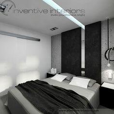 Projekt sypialni Inventive Interiors - biało szara męska sypialnia - tapicerowanie na ścianie - pomysł na oświetlenie