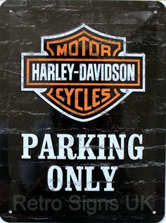 Harley Davidson Parking Only Embossed Decorative Wall Sign 15x20 Cm Free postage in UK..