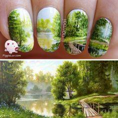 Freehand landscape nail art #piggieluv #green #creative #nailart - bellashoot.com