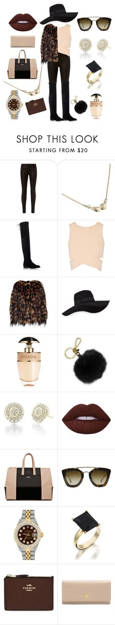 """Luxurious Chic"" by juttou ❤ liked on Polyvore featuring rag & bone, Stuart Weitzman, Jonathan Simkhai, Dries Van Noten, San Diego Hat Co., Prada, MICHAEL Michael Kors, Lime Crime, Rolex and Coach"