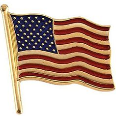 1750x1700 mm Color American Flag Lapel Pin in 14K Yellow Gold -- For more information, visit image link.