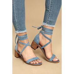 Steve Madden Rizzaa Light Blue Suede Leather Heeled Sandals ($79) ❤ liked on Polyvore featuring shoes, sandals, blue, heeled sandals, light blue sandals, steve madden sandals, blue shoes and blue suede shoes