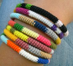 crochet bracelet These could be like the friendship bracelets.