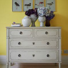 Yellow hallway with painted chest of drawers | Hallway decorating | housetohome.co.uk