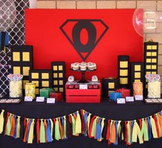 Spiderman superhero boy birthday party dessert table!  See more party planning ideas at CatchMyParty.com!