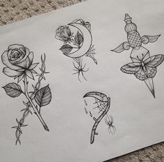 Spider, Rose, Dagger Tattoo Flash by Medusa Lou Tattoo Artist - medusaloux@outlook.com