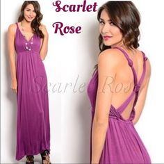 🌹Purple V-Neck Maxi Criss Cross Back Dresses🌹 THESE BEAUTIFUL PURPLE SLEEVELESS MAXI DRESSES ARE STUNNING! And I am IN ❤️❤️ with the statement criss-cross back. I have Sizes S(2-4), M(6-8), and L(10-12) and they fit true to size. They are super light & cool & have a wonderful soft fabric that feels like butter on your skin. This is one of my favorite dresses in my closet. Price is firm on retail items, but feel free to bundle! And get your Summer/Spring items now while they are at such a…