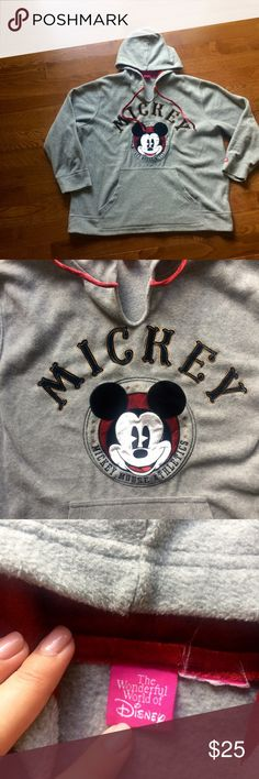 2XL Mickey Mouse grey fleece 2XL grey fleece hoodie, work only 1x, missing the tag as seen in picture, great condition, very comfy, the wonderful world of Disney brand Disney Tops Sweatshirts & Hoodies