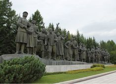North Korea. The Samjiyon Grand Monument. This memorial commemorates the Battle of Musan in 1939, when Korean resistance-fighters under the command of Kim Il-sung fought against Japanese troops. The centrepiece is a 15m-high statue of a 27-year-old Kim Il-sung, as well as a smaller version of Pyongyang's Juche Tower and several large sculptures of various revolutionary scenes.