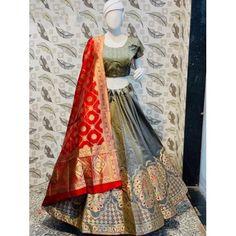 grey jacquard silk heavy lehenga choli Lace Saree, Silk Lehenga, Silk Dupatta, Bridal Lehenga, Bollywood Lehenga, Bollywood Fashion, Georgette Fabric, Jacquard Fabric, Indowestern Saree