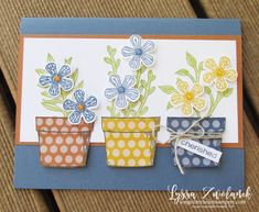 Basket of blooms Stampin Up Lyssa punch blossom bloom class tutorial techniques layout pots garden clay Cute Cards, Diy Cards, Pretty Cards, Embossed Paper, Color Club, Specialty Paper, Stamping Up Cards, My Spring, Ink Pads