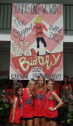 "Phi Mu Bid Day Banner! You're The One We Want! Replace phi mu with chorus, change to blue and gold, and to ""fine arts recruitment""... At this point, anything to get my numbers right"