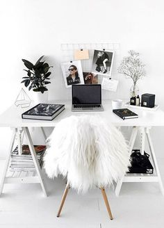 A faux fur chair is the perfect #GirlBoss addition to your home office.