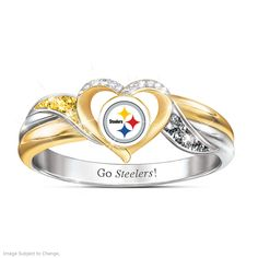 Pittsburgh Steelers Pride Ring With Team-Color Crystals Pittsburgh Steelers Football, Broncos Fans, Nfl Fans, Dallas Cowboys, Football Team, Seahawks Football, Alabama Football, Denver Broncos, Steelers Rings
