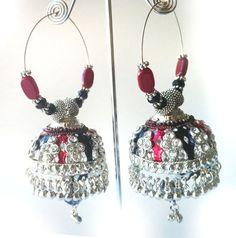 Silver Jhumka Earrings   Silver Hoop Jhumka Earrings with Red and Black