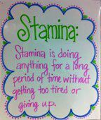 Stamina. Perfect for when we start Daily Five!