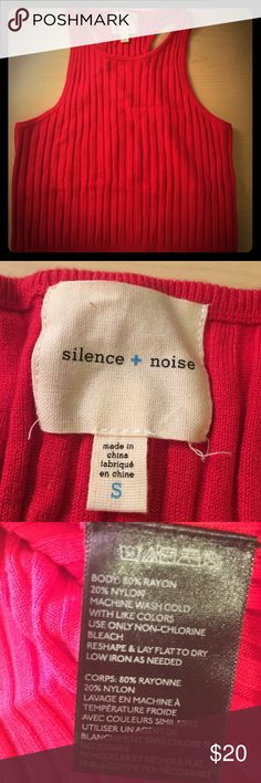 Silence + Noise Red Stretchy Crop Top Only worn once. Like new!! So comfortable, sweater material. Stretchy so it's really flattering! Bundle and save 😍😍😍 silence + noise Tops Crop Tops