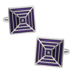 Square Noble Purple Pattern Cufflinks Gift Bag Package