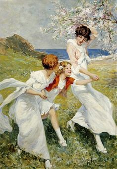 "René Lelong (French, active 1895 - 1930) - ""A Spring Day By The Seashore"""