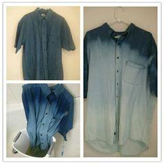 ombre DIY men's denim shirt completed.