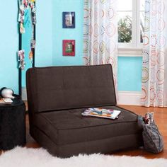 Flip Out Chair Futon with 3 Convertible Positions UltraSuede Material for Added Comfort Brown * Visit the image link more details. Note:It is affiliate link to Amazon.