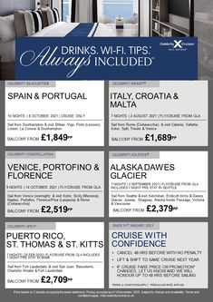 Celebrity Cruises - now with 'Always included' drinks package, WiFi and Tips #gcwbarry www.gocruisewithbarry.co.uk Celebrity Cruises, Beverage Packaging, Spain And Portugal, Catania, Bilbao, Southampton, Lisbon, Malta, Rome