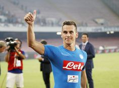 Napoli's player Arkadiusz Milik celebrate the victory after the Serie A match…