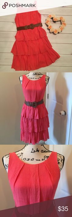 🆕 NWOT Coral layered dress Never worn! Coral layered dress with brown belt. Beautiful color! Size 5 juniors Dresses