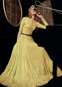 1974 Lanvin, modest long sleeve pleated dress in yellow.