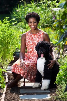 Finally! An official close-up with Bo and Michelle Obama.