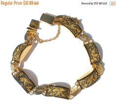 Bird Damascene Bracelet Gold Tone with Black Linked by RibbonsEdge