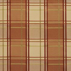 Beige Gold and Coral Plaid Woven Damask Upholstery Fabric