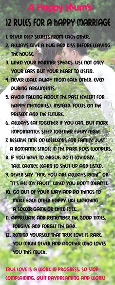 12 rules for a happy marriage. . more marriage tips and secrets quotes at http://quotesboard.com