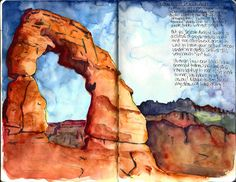 """Stacy Egan shares a watercolor from her travel journal """"Delicate Arch"""" Watercolor Sketchbook, Pen And Watercolor, Watercolor Landscape, Abstract Watercolor, Watercolor Paintings, Watercolors, Delicate Arch, Illustration Sketches, Illustrations"""