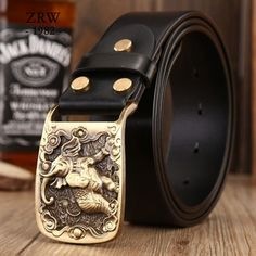 33.8$  Watch now - 2017 solid brass sculpture elephant sash belt brands high quality sashes men casual genuine leather strap cowboys jeans size 115   #shopstyle
