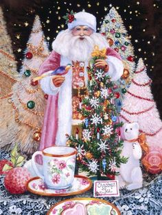 Christmas Tea (with Santa) - Gallery Artist: Susan Rios Merry Christmas Images, Victorian Christmas, Santa Christmas, Christmas Pictures, All Things Christmas, Vintage Christmas, Christmas Cards, Christmas Decorations, Christmas Print