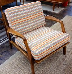 Danish modern wood frame chair with new striped cushions
