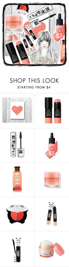"""Cute coral panda"" by beanpod ❤ liked on Polyvore featuring beauty, GE, 3 Concept Eyes, peripera, Innisfree, TONYMOLY and Skinfood"
