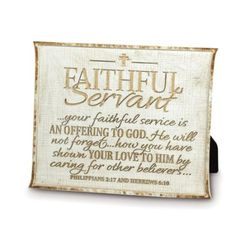 Faithful Servant Plaque, Tan  -