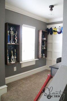 *love the window* DIY Trophy Case for a Teen Boy Room - Shanty 2 Chic Diy Trophy, Trophy Shelf, Trophy Display Case, Baseball Display, Teen Boy Rooms, Teen Boy Bedding, Boy Bedrooms, Kids Rooms, Teenage Bedrooms