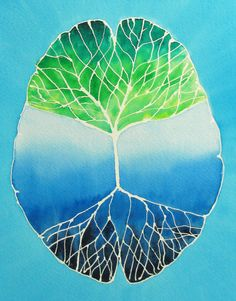 Root and Branch Brain 13   original watercolor by artologica