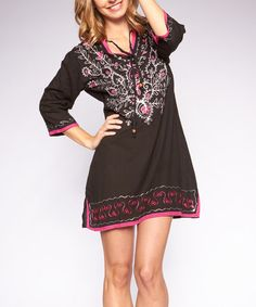 Love this Black Embroidered Three-Quarter Sleeve Tunic by Icy Fashion on #zulily! #zulilyfinds