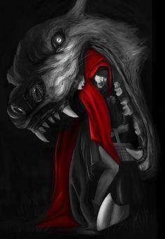 New Tattoo Wolf Girl Red Riding Hood Ideas Red Riding Hood Wolf, Little Red Ridding Hood, Fantasy Wolf, Dark Fantasy Art, Dark Beauty, Werewolf Art, Big Bad Wolf, Wolf Girl, Wolf Tattoos