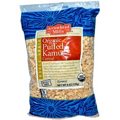 """Save On Arrowhead Mills 6 Oz Puffed Kamut Cereal Kamut (Kah-Moot), The """"Great-Great Grandfather Of Grains"""". Derived From The Ancient Egyptian Word For """"Wheat"""", This High-Energy Grain Was Discovere Whole Grain Cereals, Candida Diet, Low Calorie Recipes, Vegan Recipes, Recipe Of The Day, Organic Recipes, Free Food, High Energy, Egyptian"""